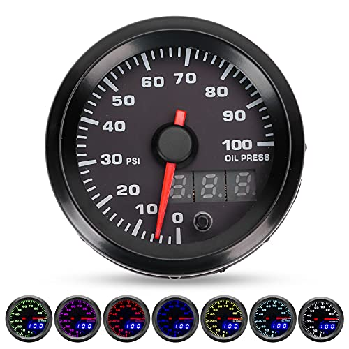 12V 2 인치 범용 오일 압력 게이지 0-100PSI 미터 7 색 LED 디스플레이가 센서가있는 대부분의 12V 자동차에 적합