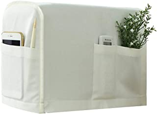 Guken Anti-Slip Armrest Covers Linen Fabric Sofa Protector Armchair Slipcover for Recliner Sofa with 2 Pockets for TV Remote Control, Phone, Set of 2, Cream White