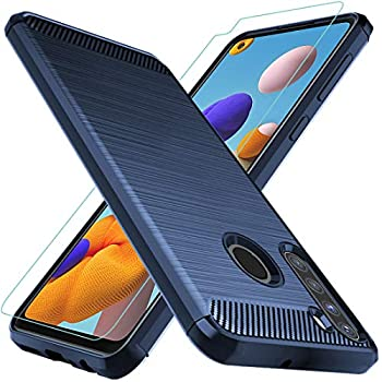 Osophter for Galaxy A21 Case US Version  with Screen Protector Shock-Absorption Flexible TPU Rubber Protective Cell Phone Cover for Samsung Galaxy A21 US  Blue