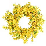 Supreme glory Spring Wreaths, 16' Artificial Forsythia Flower Wreath, Yellow Flower Front Door Wreath Outdoor Wreath for Wedding Home Wall Decor