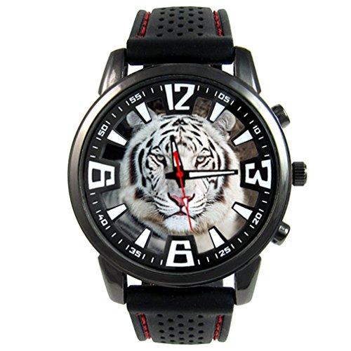 Timest - Tigre Blanco - Reloj para Hombre con Correa de Silicona Negro