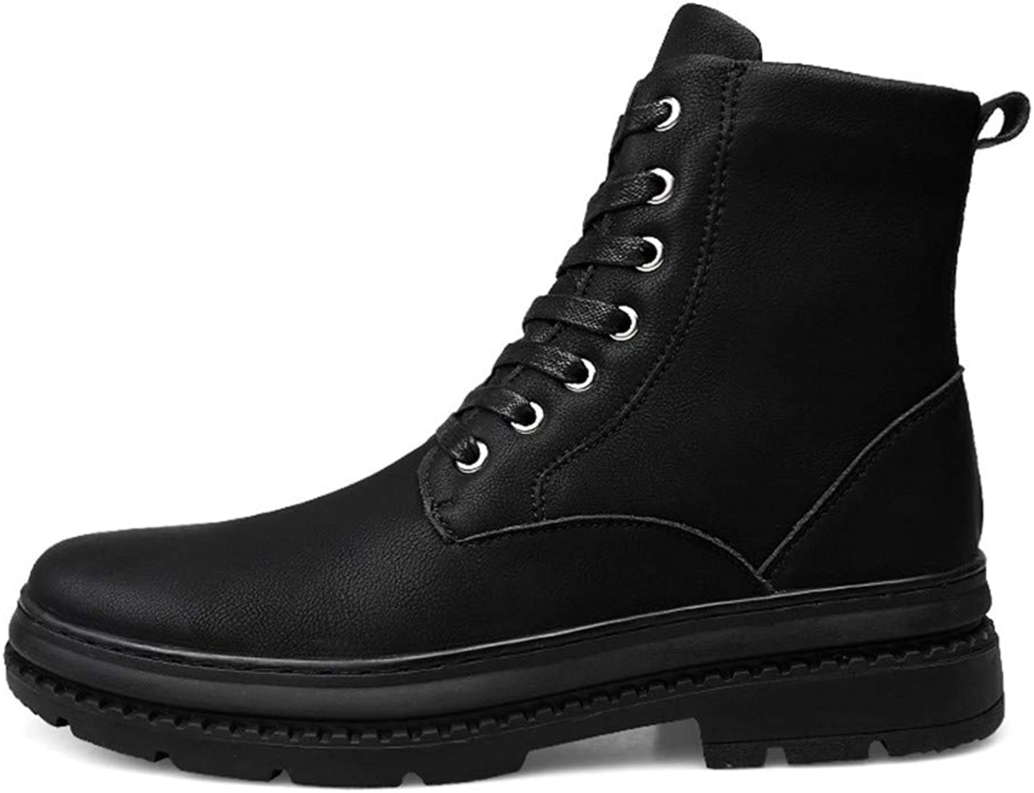 Men's Boots Casual HIGT-top sAnkle Soft Genuine Leather Round Top Lacing Martin Boots (Warm Velvet Optional)