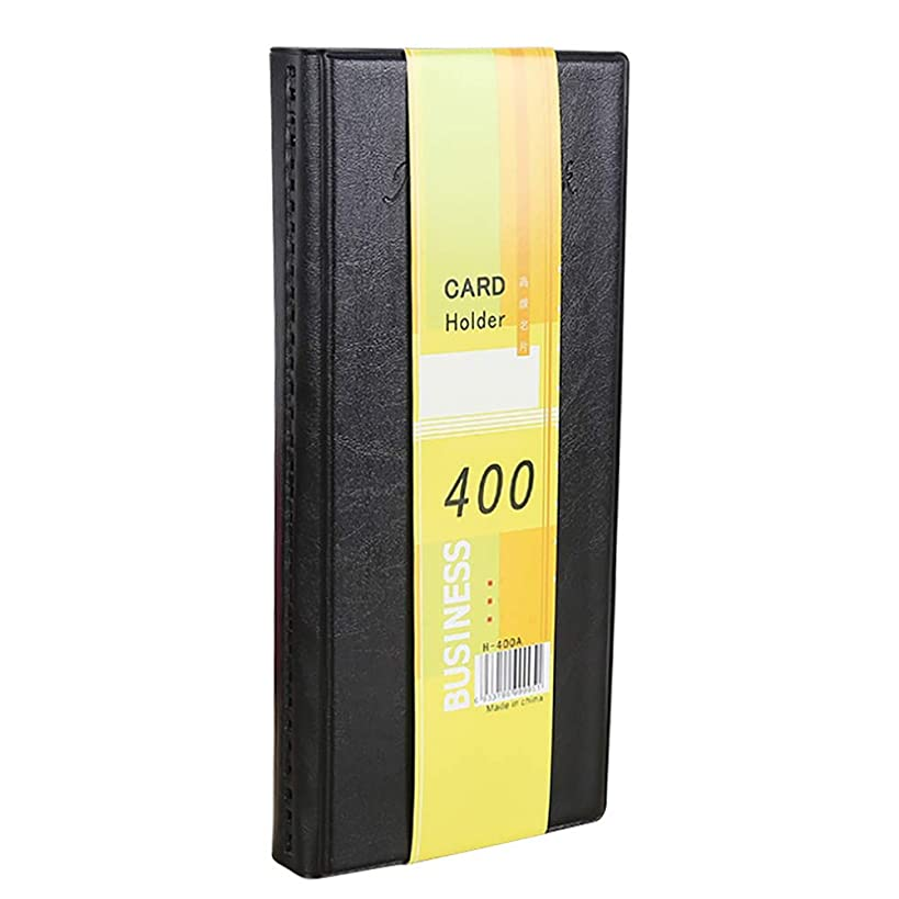 Business Card Album Black PU Leather Business Card Holder Organizer, Book Holds 400 Cards