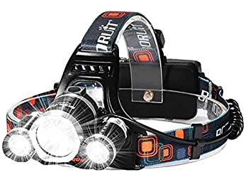 Headlamp,[Upgraded] USB Rechargeable LED Head Lamp 30000 Lumen IMPROVED Cree Led,4 Modes Headlight Battery Powered Helmet Light for Camping Running Hiking(Charging equipment and Batteries) Included