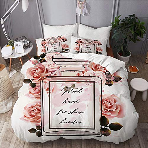 Aliciga bedding-Duvet Cover Set,Beautiful fashion pink perfume glass bottle and roses in watercolor style,Microfibre 260x220 with 2 Pillowcase 50x80,Super King