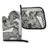 Fuyon Zebra Animals African Wildlife Safari Animals1 Zebra Animals African Wildlife Safari Animals Oven Mitts and Potholders (2 piezas) Professional Heat Resistant Pot Holder & Baking Gloves