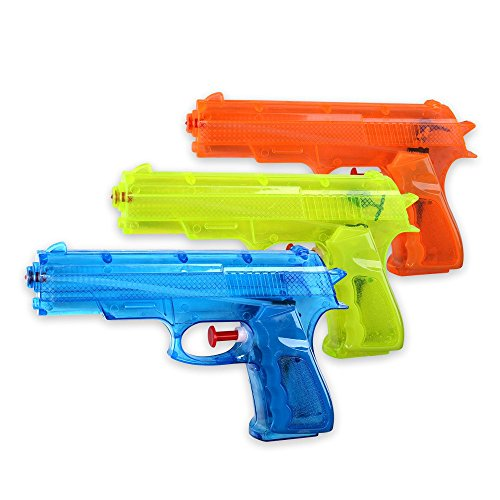 Schramm® 3 Stück Wasserpistolen \'klassisch\' ca. 17cm x 12cm Wasserpistole Wasser Spritzpistole Wassergewehr