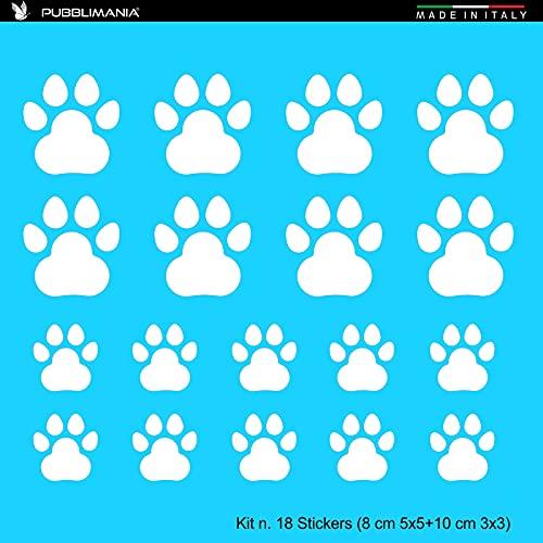 Sticker Pegatinas de huellas para coches y motos, cascos de cristal móviles, 8 (5 x 5 cm) + 10 (3 x 3 cm), color blanco