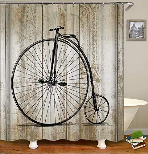 N/A Rueda de Bicicleta de Grano Blanco de Madera Impreso a Prueba de Moho e insípido Anillo de 12 Cortinas Cortina de Ducha Impermeable