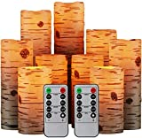 Hausware 9 Pack Flameless Candles Imitated Bark Battery Operated LED Real Wax Flickering Electric Candles with Remote Control Timer for Wedding Birthday Halloween Christmas Decorations