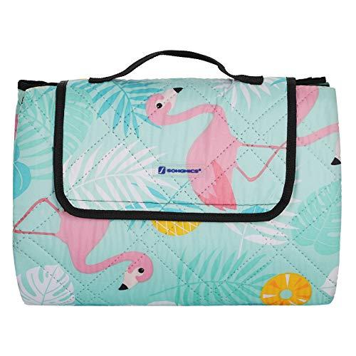 SONGMICS Picknickdecke, 195 x 150 cm große Stranddecke, Campingdecke mit Tragegriff, wasserdichte Unterseite, Ultraschall-Nähte, waschbar, für den Garten, Park, Flamingo-Motiv, bunt GCM86JK