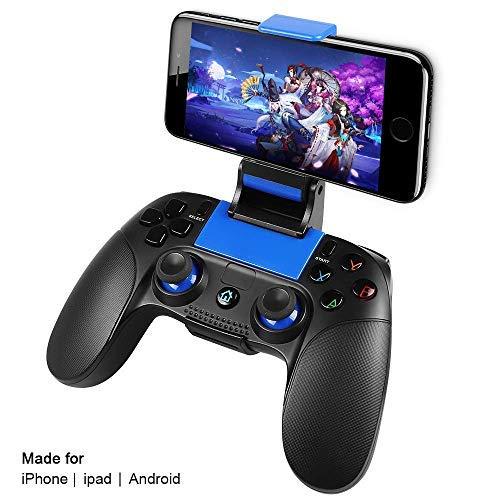 Wireless Gamecontroller,PowerLead Drahtloses Handy Gamepad,Tragbarer Joystick-Griff für mobile Spiele für Android IOS, Unterstützt IOS13.4 und höher nicht