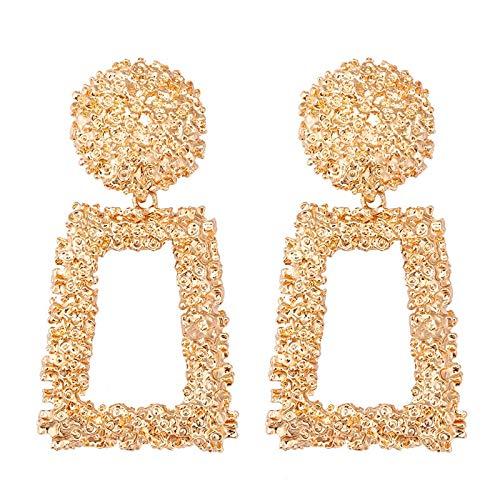 Top 2021 – 2021 Top Mujeres Vintage Big Metal Drop Pendientes colgantes para mujer Geométricos Boda Fiesta Joyería Oro Grande Declaración Pendientes Múltiples Colores (Oro)