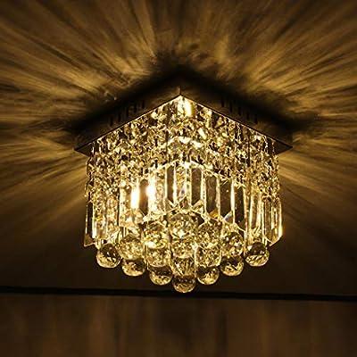 US Fast Shipment Crystal Chandelier Lighting, Flush Mount Ceiling Light, H8'' x W8'' Modern Chandelier Lighting Fixture for Bedroom, Hallway, Bar, Kitchen, Bathroom