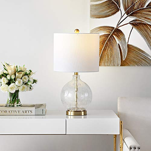 Safavieh Lighting Collection Lovell Clear Glass/Gold 22-inch Bedroom Living Room Home Office Desk Nightstand Table Lamp (LED Bulb Included)