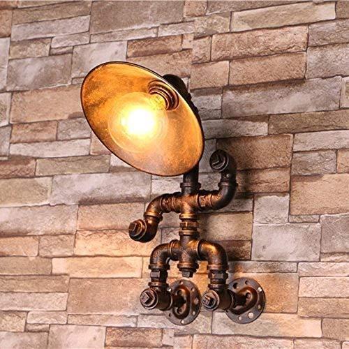 LLLKKK Lámpara de pared de hierro con forma de robot de metal, estilo steampunk, industrial, retro, tubo de agua, lámpara de pared, cocina, dormitorio, mesita de noche, E27
