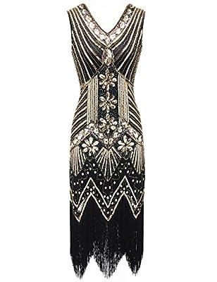 EAST-BIRD Women 1920s Dress Beaded Sequin V Neck Deco Gatsby Theme Inspired Flapper Dress for Prom