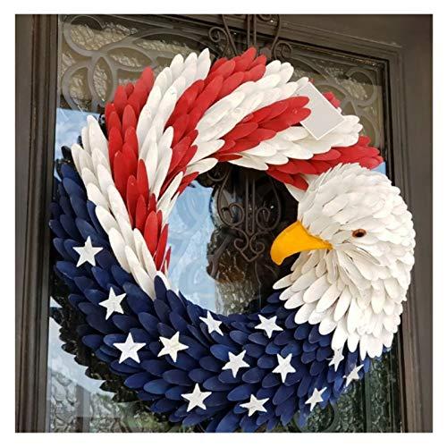 XXJIC American Eagle Guirnalda Gloria Patriótica Rojo Rojo Blanco y Azul Guirnalda de águila patriótica Frente de la elección Guirnalda Eagle Bandera Nacional Diseño Artificial Guirnalda Guirnalda