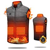 Electric Heated Vest for Men/Women, USB Heated Jacket Double Switch Adjustable, Washable Heating Gilet Coat Body Warmer for Winter Skiing Motorcycle Hiking Fishing Golf (Battery Not Included) L…