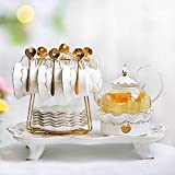 Cup and Saucer Set Porcelain Tea Set Afternoon Tea Set Ceramic Flower Tea Cup Boiled Fruit Glass Teapot Candle Heated Tea Set