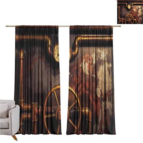 Cortina opaca industrial, tubos de vapor y manómetro de presión, estilo vintage, con motor dañado, cortinas de bolsillo para la sala de estar, 182 x 213 cm, color bronce y naranja oscuro