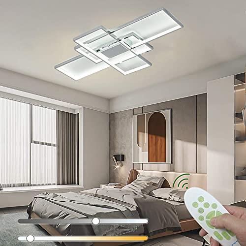 Luz De Techo LED Lámpara De Sala Estar Regulable Con Control Remoto Moderno 3 Rectángulo Dormitorio Lámpara De Techo Acrílico Aluminio Geométrico Iluminación Oficina Oficina Balcón,Cromo,140cm