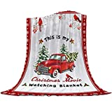 This is My Christmas Movie Watching Blanket, Super Soft Cozy Flannel Fleece Winter Holiday Vintage Red Truck with Xmas Tree Frosty Snowflake Cardinalis Throw Blanket for Couch Bed Sofa, 40' x 50'