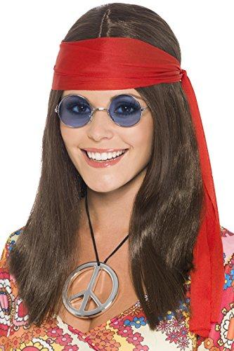 Smiffys Hippie Set met pruik, bril, peaceketting en hoofdband