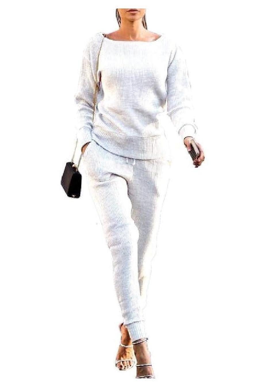 先に底爬虫類Romancly 女性ボーイフレンドニットカジュアル2ピーススウェットスーツ衣装