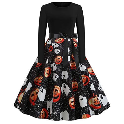 FOTBIMK Halloween Kleid, Damen Casual Kürbis Print Kleid Oansatz Langarm Reißverschluss Hepburn Party Kleider (Schwarz-B, Klein)