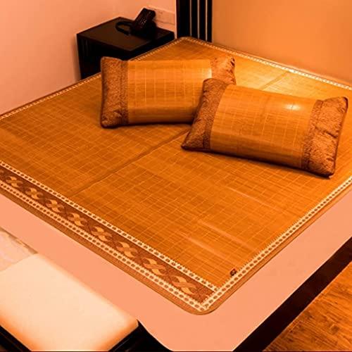 Bambu grönt kol galen bambu matta dubbelsidig positiv och sommarmattor 1,8 meter säng sommar singel 1,5 m hopfälla kudde (färg: brun, storlek: 195 * 150 cm) (Color : Brown, Size : 195 * 150cm)
