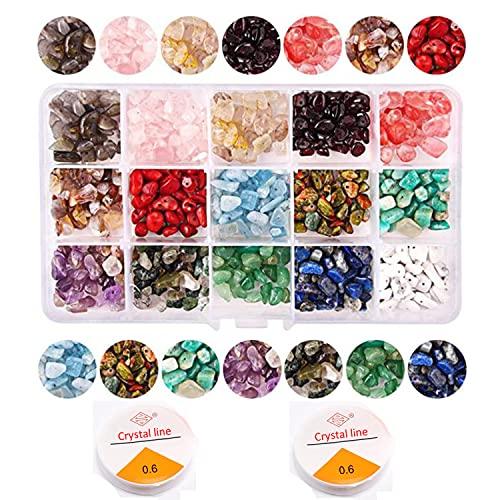 Sonwaha Piedras Naturales Cuentas de Colores Irregular Joyería Y 2 Cajas de Líneas de Joyería para DIY Pulseras Collares Bisutería(15 colores)