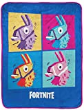 Fortnite Blue Llama Travel Blanket - Measures 40 x 50 inches, Kids Bedding Features Warhol Design - (Official Fortnite Product)