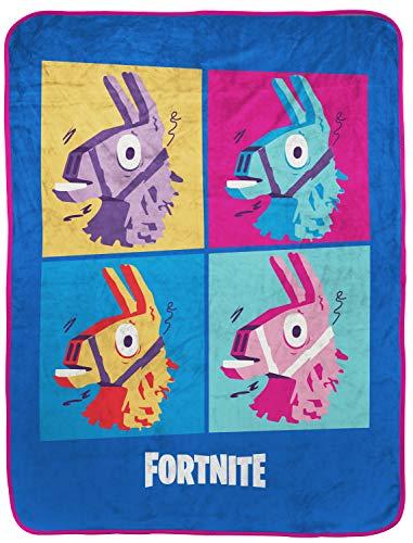 Fortnite Blue Llama Manta de viaje – Medidas 101,6 x 127 cm, ropa de cama para niños con diseño de Warhol – (producto oficial de...