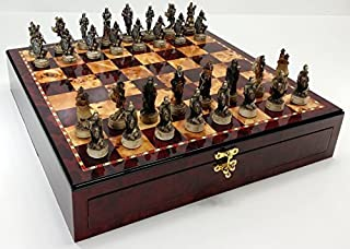 Skeleton Slayer Gothic Fantasy Skull Chess Set W/ High Gloss Cherry & Burlwood Color Storage Board 17