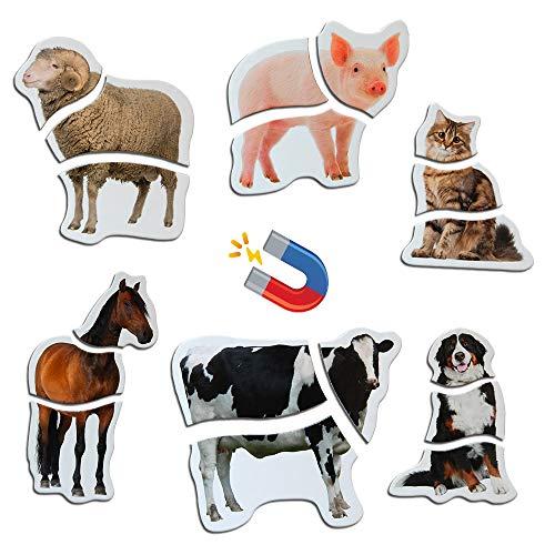 magdum 6 Bauernhof Foto Realistische Magnetische Puzzles für Jungen Mädchen - 6 Große Erste Magnetische Tier Puzzles Spielzeug für 3 Jahre alt - Magnet Spiele für Kinder - Spielzeug Tiere Magnet Set