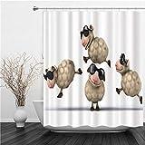 AIMILUX Duschvorhang 180x180cm,Cartoon Sheep Coole Schafe mit Sonnenbrille Leaf Frog,Duschvorhang Wasserabweisend-Duschvorhangringen 12 Shower Curtain mit