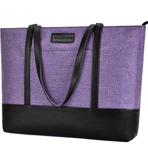 Laptop Tote Bag,Fits 15.6 Inch Laptop,Womens Lightweight Water Resistant Nylon Tote Bag Shoulder Bag Messenger Bag,Purple Maine