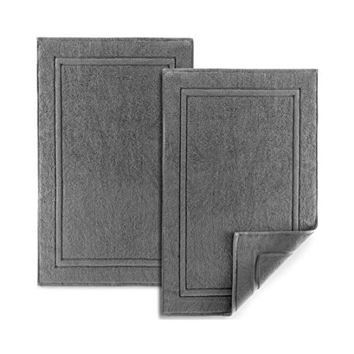 Alibi Bath Mat Floor Towel Set | 2 Pack of Super Soft & Absorbent Luxury Cotton Towels | Hotel, Spa, Shower & Bathroom Step Out of Tub Floor Mats [NOT a Bathroom Rug] |Machine Washable - Grey 22 X 34
