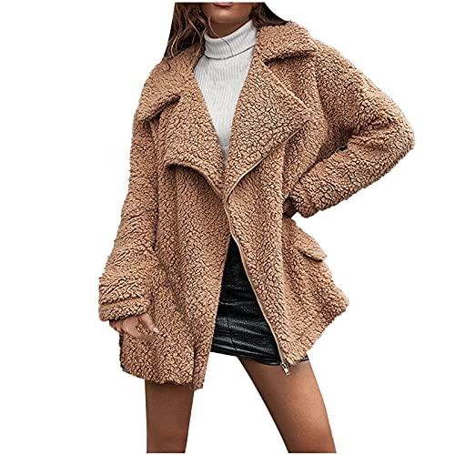 UEsent Chaqueta de invierno de manga larga para mujer, de felpa, chaqueta de invierno abierta, cálida, con cierre de cremallera, monocolor, con solapa gruesa de terciopelo