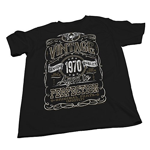 Vintage Aged Perfection 1968 - Distressed Print - 50th Birthday Gift T-Shirt- Black