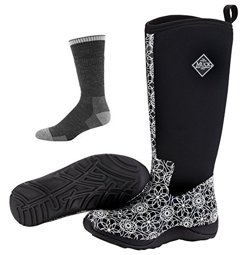 Muck Boots Femme Arctic Adventure Print, Bottes de pluie pour femme - Noir - Swirl W Socks, 35 EU