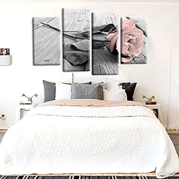 4Pcs Pink Grey White Love Rose Floral Canvas Wall Art Picture Prints Set Decor For Living Room Canvas Pictures Wall Decoration