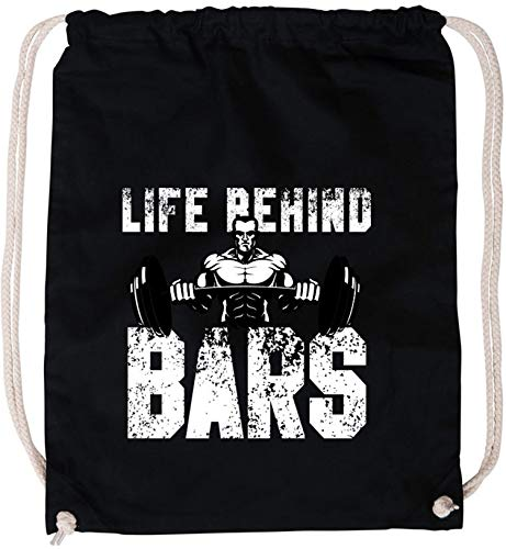 AngryShirts Life behind the bars Baumwoll Stoffbeutel