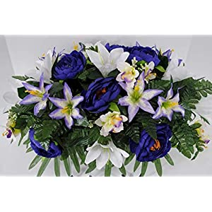 Spring or Easter Cemetery Flowers for Headstone and Grave Decoration-Purple Rose and Lily Mix Saddle