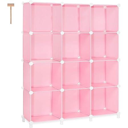 TomCare Cube Storage 12-Cube Storage Shelves Cube Organizer Closet Organizer DIY Bookshelf Bookcase Plastic Storage Cubes Shelf Clothes Storage Organizer Shelves for Bedroom Living Room Office, Pink
