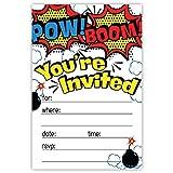 Superhero Birthday Party Invitations (20 Count) With Envelopes
