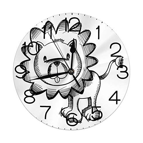 Horloge Murale Ronde décorative pour la Maison, Doodle, Sketchy Baby Lion Wildlife Character Safari Jungle SavanHabitat Theme, Black White