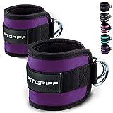 Fitgriff Sangle Cheville Musculation Poulie (rembourré) - Sangle Musculation et de Fitness sur Le Câble Machines - Ankel Straps - Purple