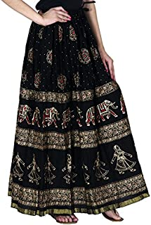 Home Shop Gift Black Cotton Gold Printed Long Skirt Length 40 Inches Waist Size :: Non Stretch 26 inches, After Stretch 42...